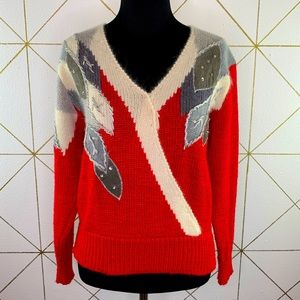 Vtg 80s Patchwork Suede Lambswool Angora Sweater